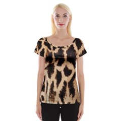 Yellow And Brown Spots On Giraffe Skin Texture Women s Cap Sleeve Top