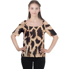 Yellow And Brown Spots On Giraffe Skin Texture Women s Cutout Shoulder Tee