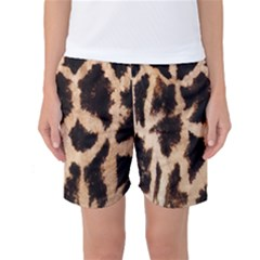 Yellow And Brown Spots On Giraffe Skin Texture Women s Basketball Shorts