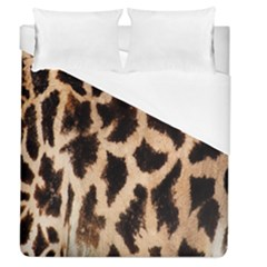 Yellow And Brown Spots On Giraffe Skin Texture Duvet Cover (queen Size)