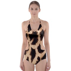 Yellow And Brown Spots On Giraffe Skin Texture Cut Out One Piece Swimsuit