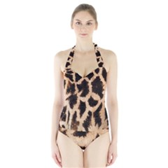 Yellow And Brown Spots On Giraffe Skin Texture Halter Swimsuit