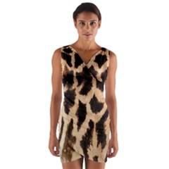 Yellow And Brown Spots On Giraffe Skin Texture Wrap Front Bodycon Dress