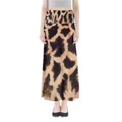 Yellow And Brown Spots On Giraffe Skin Texture Maxi Skirts
