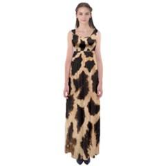 Yellow And Brown Spots On Giraffe Skin Texture Empire Waist Maxi Dress