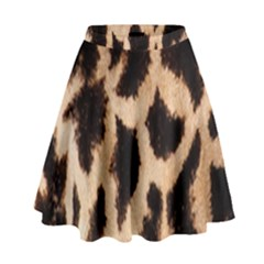 Yellow And Brown Spots On Giraffe Skin Texture High Waist Skirt
