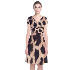 Yellow And Brown Spots On Giraffe Skin Texture Short Sleeve Front Wrap Dress