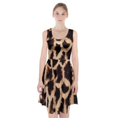 Yellow And Brown Spots On Giraffe Skin Texture Racerback Midi Dress