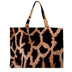 Yellow And Brown Spots On Giraffe Skin Texture Medium Zipper Tote Bag