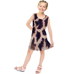 Yellow And Brown Spots On Giraffe Skin Texture Kids  Tunic Dress