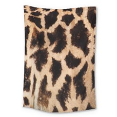 Yellow And Brown Spots On Giraffe Skin Texture Large Tapestry