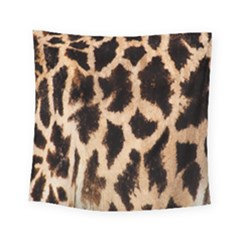 Yellow And Brown Spots On Giraffe Skin Texture Square Tapestry (small)