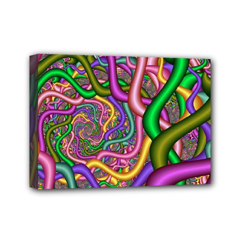 Fractal Background With Tangled Color Hoses Mini Canvas 7  X 5