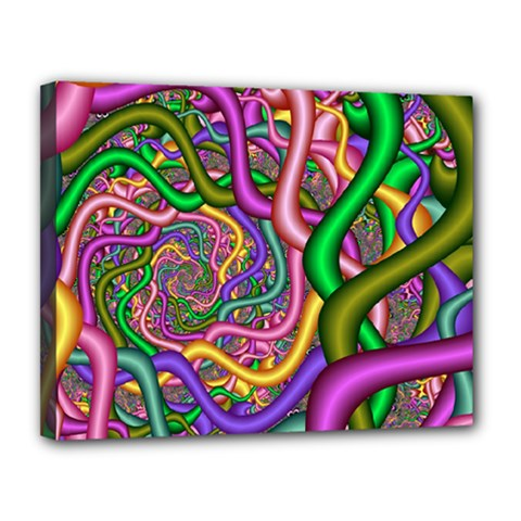 Fractal Background With Tangled Color Hoses Canvas 14  X 11