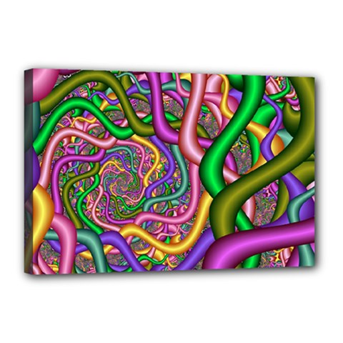 Fractal Background With Tangled Color Hoses Canvas 18  X 12