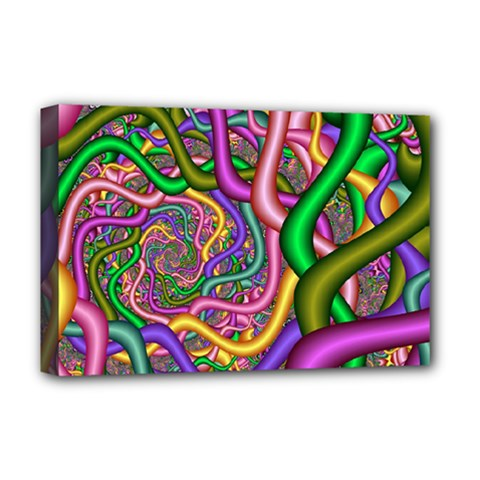 Fractal Background With Tangled Color Hoses Deluxe Canvas 18  X 12