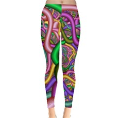 Fractal Background With Tangled Color Hoses Leggings