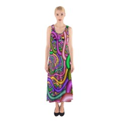 Fractal Background With Tangled Color Hoses Sleeveless Maxi Dress