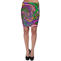 Fractal Background With Tangled Color Hoses Bodycon Skirt
