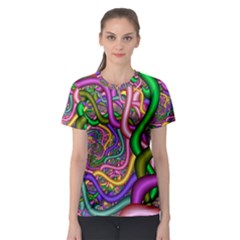 Fractal Background With Tangled Color Hoses Women s Sport Mesh Tee