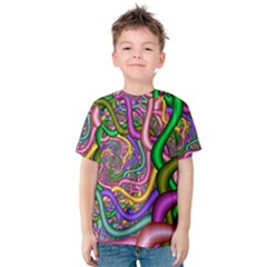 Fractal Background With Tangled Color Hoses Kids  Cotton Tee