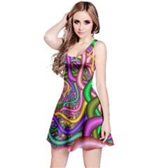 Fractal Background With Tangled Color Hoses Reversible Sleeveless Dress