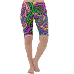 Fractal Background With Tangled Color Hoses Cropped Leggings
