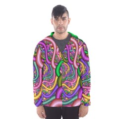 Fractal Background With Tangled Color Hoses Hooded Wind Breaker (men)