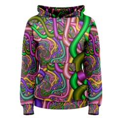 Fractal Background With Tangled Color Hoses Women s Pullover Hoodie