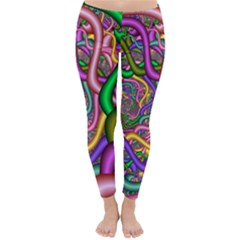 Fractal Background With Tangled Color Hoses Classic Winter Leggings