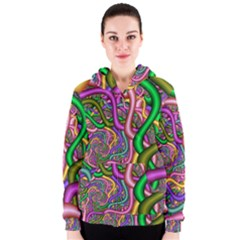 Fractal Background With Tangled Color Hoses Women s Zipper Hoodie