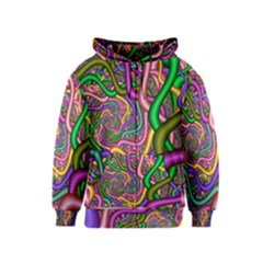 Fractal Background With Tangled Color Hoses Kids  Zipper Hoodie
