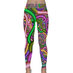 Fractal Background With Tangled Color Hoses Classic Yoga Leggings