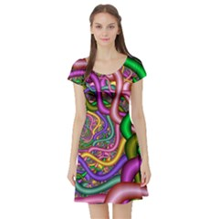Fractal Background With Tangled Color Hoses Short Sleeve Skater Dress