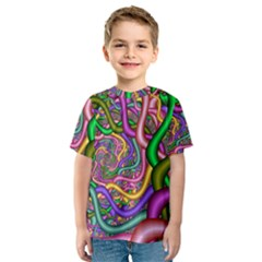 Fractal Background With Tangled Color Hoses Kids  Sport Mesh Tee