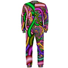 Fractal Background With Tangled Color Hoses Onepiece Jumpsuit (men)