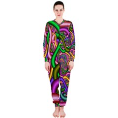 Fractal Background With Tangled Color Hoses OnePiece Jumpsuit (Ladies)