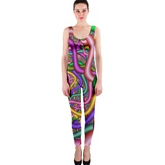 Fractal Background With Tangled Color Hoses OnePiece Catsuit