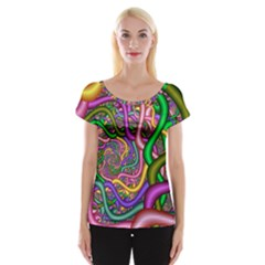 Fractal Background With Tangled Color Hoses Women s Cap Sleeve Top