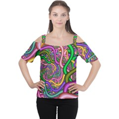 Fractal Background With Tangled Color Hoses Women s Cutout Shoulder Tee