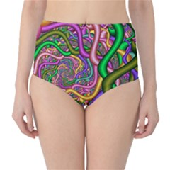 Fractal Background With Tangled Color Hoses High Waist Bikini Bottoms