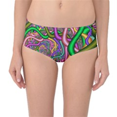 Fractal Background With Tangled Color Hoses Mid-Waist Bikini Bottoms