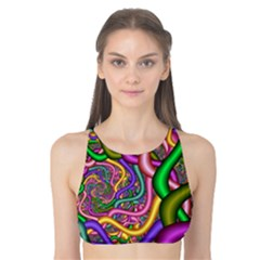 Fractal Background With Tangled Color Hoses Tank Bikini Top