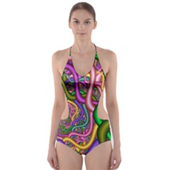Fractal Background With Tangled Color Hoses Cut Out One Piece Swimsuit