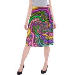 Fractal Background With Tangled Color Hoses Midi Beach Skirt
