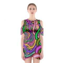Fractal Background With Tangled Color Hoses Shoulder Cutout One Piece