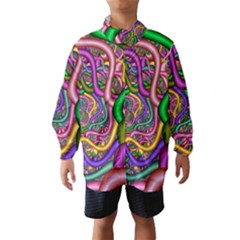 Fractal Background With Tangled Color Hoses Wind Breaker (kids)