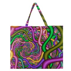 Fractal Background With Tangled Color Hoses Zipper Large Tote Bag