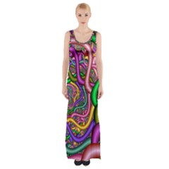 Fractal Background With Tangled Color Hoses Maxi Thigh Split Dress
