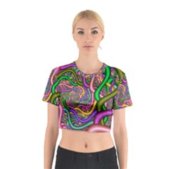 Fractal Background With Tangled Color Hoses Cotton Crop Top